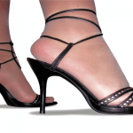 A pair of black stiletto heels