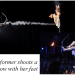 Performer shoots bow and arrow with feet