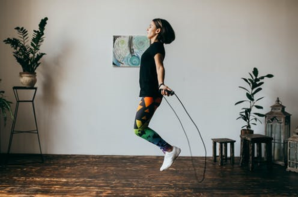 Jumping rope in sneakers